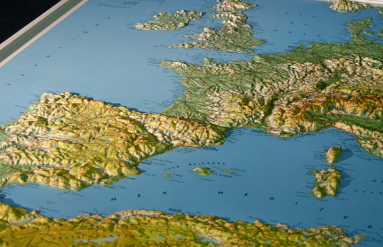 Thermoplastic relief of Europe