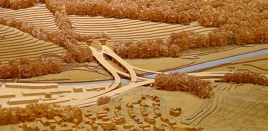 Town model of Zurich (Switzerland) showing a new motorway in construction