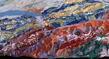 Geologically painted relief of Switzerland